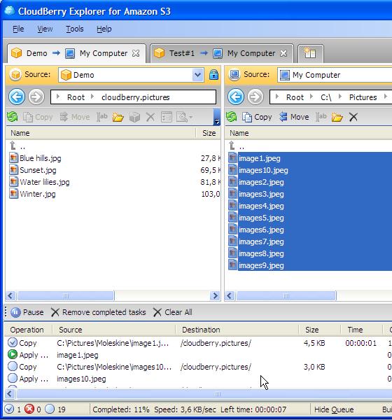 CloudBerry Explorer Queue