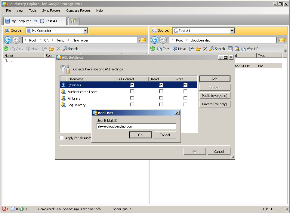 Click to view CloudBerry Explorer PRO for Google 1.6.0.8 screenshot